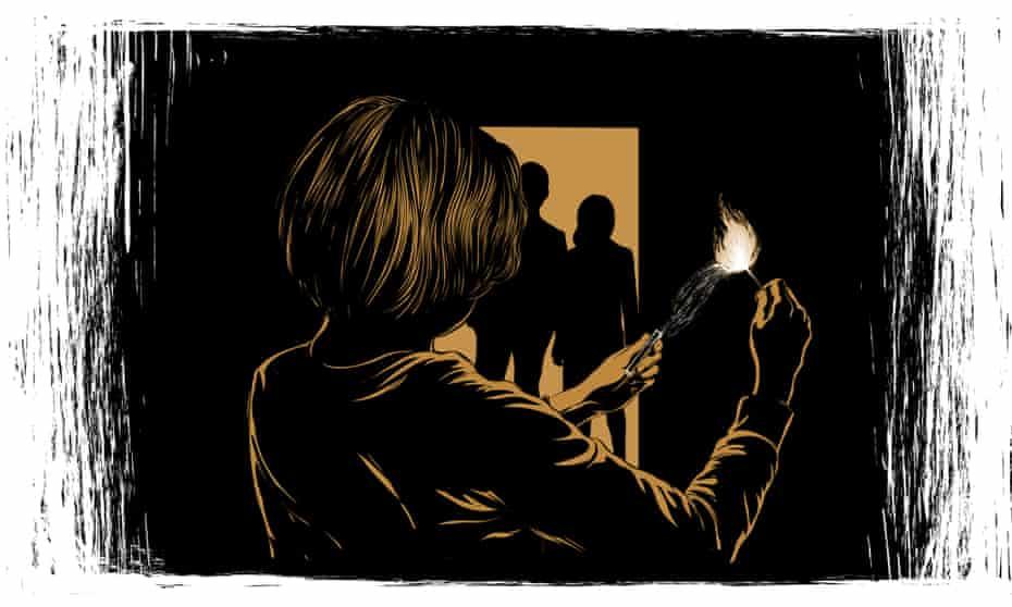 Woman striking a match in a dark room
