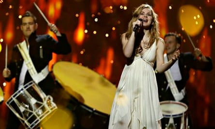 Emmelie de Forest of Denmark performs the winning entry of Eurovision 2013