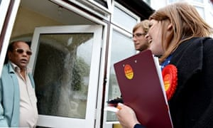 Labour's Sarah Jones campaigns for the local elections in Croydon