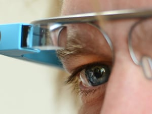 A Google Glass prototype being tried out in September 2013.