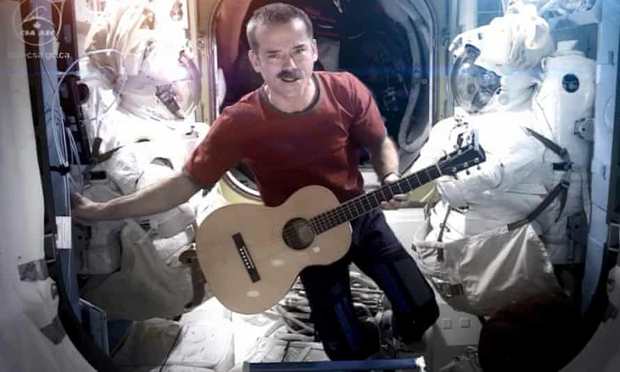 Chris Hadfield performing Space Oddity aboard the International Space Station.