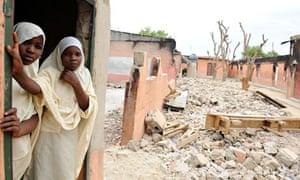Female student stand in a school in Maiduguri, in northern Nigeria