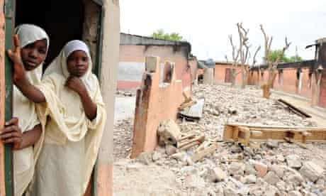 Female student stand in a school in Maiduguri, in northern Nigeria