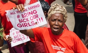 Protesters gather during a rally in Lagos to demand the return of some 200 missing school girls abducted by Boko Haram.