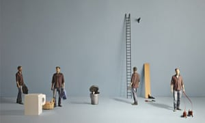 Models of Tim Dowling doing household chores