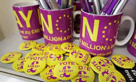 Ukip badges, mugs and pens from the May 2014 elections