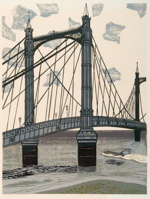 The Albert Bridge, 1966, linocut on paper.