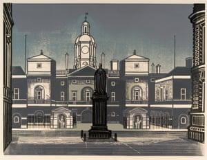 Nine London Monuments – The Horse Guards, 1966, linocut.
