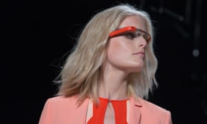 A model wearing Google Glass the Diane Von Furstenberg spring/summer 2013 runway show in New York