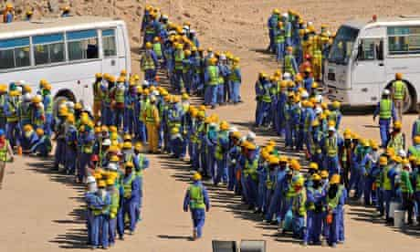 Foreign construction workers in Doha, Qatar