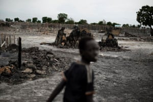 Leer, Unity State, South Sudan: a child in the late afternoon in Leer where government soldiers attacked earlier in the year fought back against the rebels which resulted in many civilian casulties and a burned down town