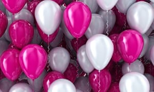 Balloons pink and white background