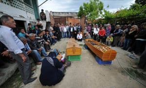 USAK, TURKEY - MAY 14 :  Funeral ceremony of twin miner brothers Ismail and Suleyman Cata who have lost their lives in the coal mine fire in Turkey's western Manisa province's Sona district held in their hometown Bayat village of Turkey's Usak province on May 14, 2014.
