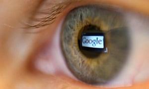 Google logo seen reflected in a person's eye