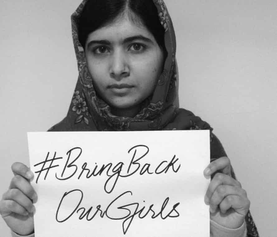 Malala supporting #BringBackOurGirls.