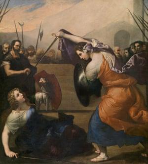 Women gladiators fighting