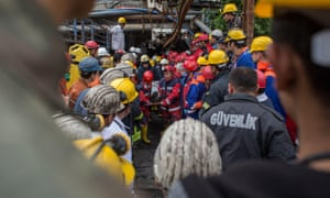 The injured and dead are carried from a coal mine in Soma, Turkey. An explosion killed 282 people in the country's worst modern mining disaster.