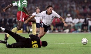 English forward Gary Lineker is tripped in 1990 World Cup
