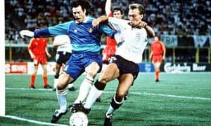 Belgian goalkeeper Michel Preud'Homme holds off England's David Platt