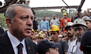 The Turkish prime minister, Recep Tayyip Erdogan, visits the coal mine in Soma.