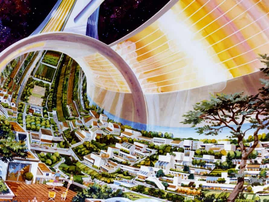 An artistic rendering by Rick Guidice of a toroidal space colony studied by Nasa in the 1970s. Illustration: Nasa Ames Research Centre