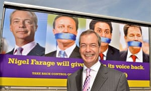 Nigel Farage with Ukip campaign poster