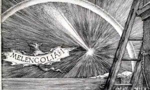 Detail from Albrecht Dürer, Melencolia, showing the bat.