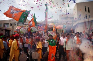 Orange and green: The scene outside the party office in Gandhinaga rthis morning.