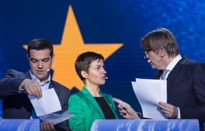 European United Left candidate Alexis TSIPRAS (L) is talking with the Green candidate Ska KELLER (C) and the Liberals and Democrats candidate Guy VERHOFSTADT (R) during a debate in the European Parliament.