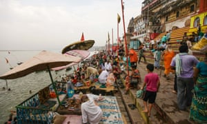 Indian devotees on the banks of River Ganges in the city of Varanasi, India.