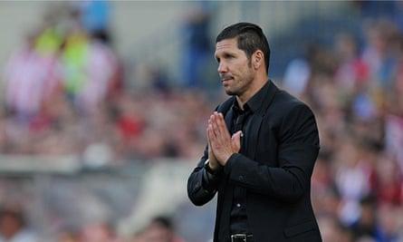 Atlético Madrid's head coach, Diego Simeone, during the La Liga match against Málaga