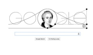 A drawing of Maria Agnesi and her mathematical curve on the google homepage