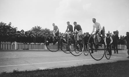 The Challenge High Ordinary race organised by the National Cyclists' Union at Herne Hill in south London, September 1919