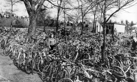 A chaotic scene at Herne Hill cycling park with a mass of cycles left by those attending the easter meeting of the Southern Counties Cycling Union, April 1952.
