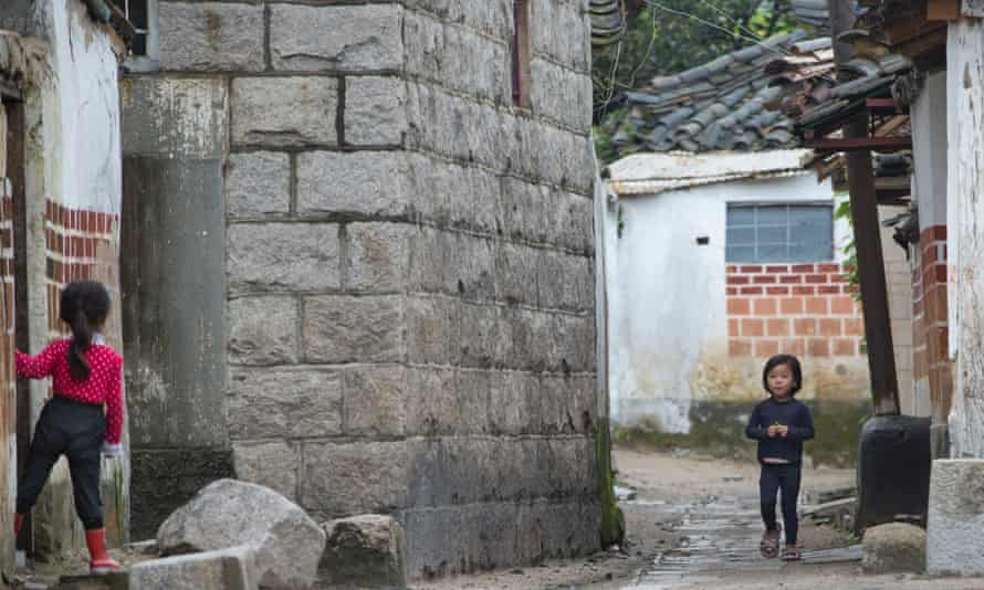 Children pictured in the old quarter of Kaesong, North Korea.