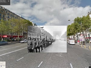 WWI in Street View: German soldiers parade down the Champs-Elysée, 1940.