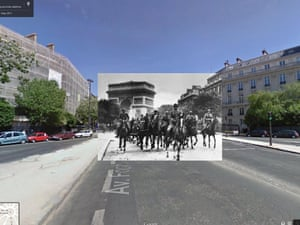 WWII in Street View: German soldiers parade from the Arc de Triomphe