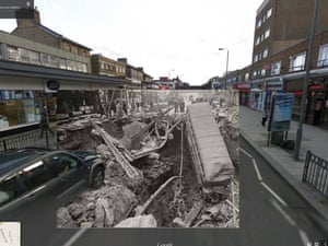 WWII in Street View: London's Balham station civilian air raid shelter partially destroyed