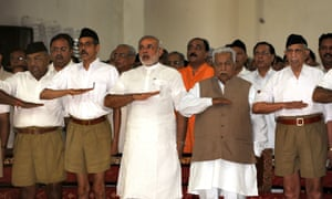 In this photograph taken in September 2009, Narenda Modi, then chief minister of the western Indian state of Gujarat, attends a Rashtriya Swayamsevak Sangh (RSS) gathering at Tria Mandir in Adalaj, near Ahmedabad.