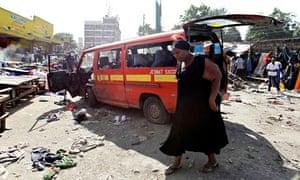 Scene of twin explosions at the Gikomba market in Nairobi