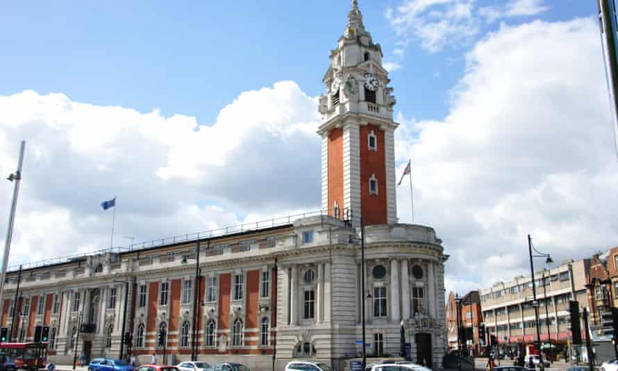 Lambeth Town Hall, a Victorian building on Brixton Hill with a tall clock tower at one end