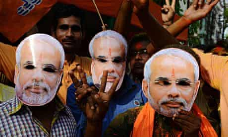 Indian supporters of the BJP celebrate