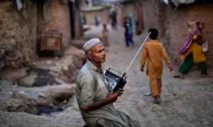 A radio fan near Islamabad, Pakistan.