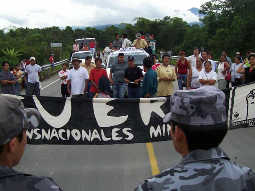 Protesters against the planned Mirador copper mine in Ecuador, now owned by two Chinese state companies.