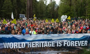 Tasmanians rally to defend World Heritage-listed forests last month.