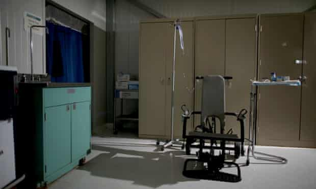 A restraint chair used to force-feed detainees on hunger strike at Guantanamo Bay.