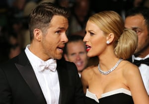 Canadian actor Ryan Reynolds and his wife actress Blake Lively arrive for the screening.