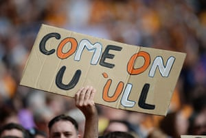 cup final: A Hull City fan displays a banner