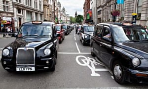 Black cabs in London