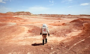 A researcher in a spacesuit on 'Mars', at the Mars Society Desert Research Station, Hanksville, Utah
